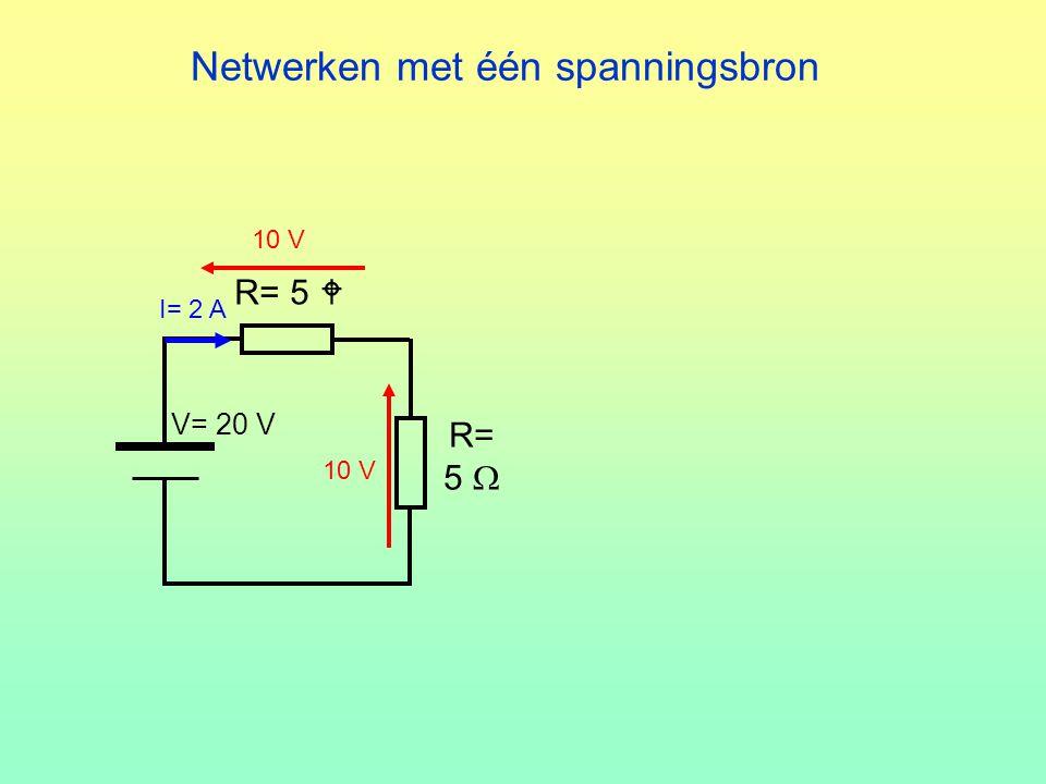 Netwerken met één spanningsbron R= 5  V= 20 V R= 5  I= 2 A 10 V
