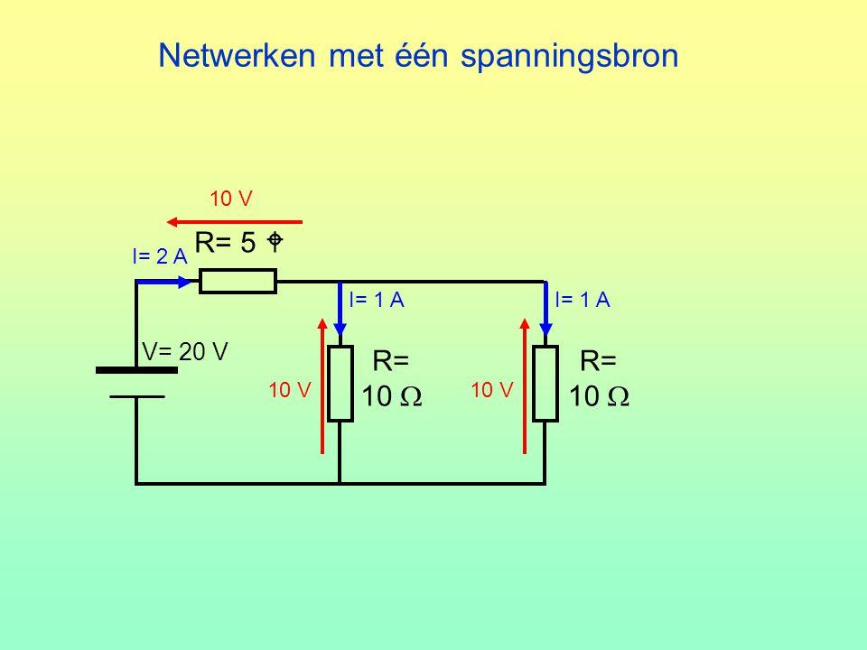 Netwerken met één spanningsbron R= 10  R= 10  V= 20 V R= 5  10 V I= 2 A 10 V I= 1 A