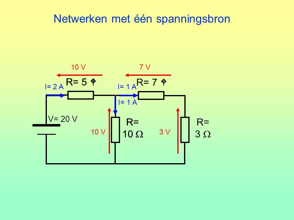 Netwerken met één spanningsbron R= 7  R= 10  R= 3  V= 20 V R= 5  R= 10  R= 5  10 V I= 2 A 10 V3 V I= 1 A 7 V I= 1 A