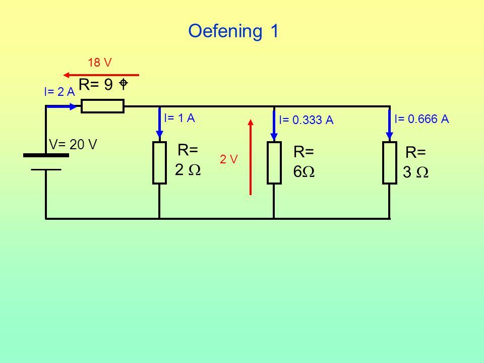 Oefening 1 R= 2  V= 20 V R= 3  R= 6  R= 9  18 V I= 2 A I= 1 A 2 V I= 0.333 A I= 0.666 A