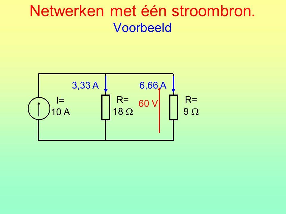 Netwerken met één stroombron. Voorbeeld R= 18  I= 10 A R= 9  60 V 6,66 A3,33 A