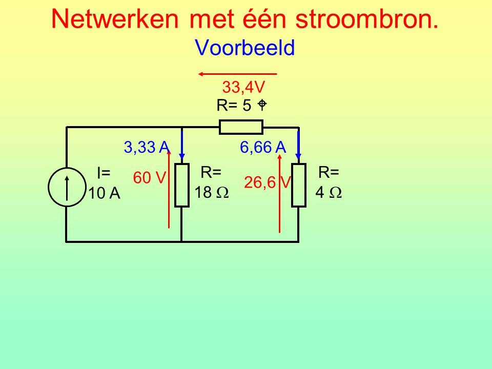 Netwerken met één stroombron. Voorbeeld R= 5  R= 18  I= 10 A R= 4  60 V26,6 V 3,33 A6,66 A 33,4V