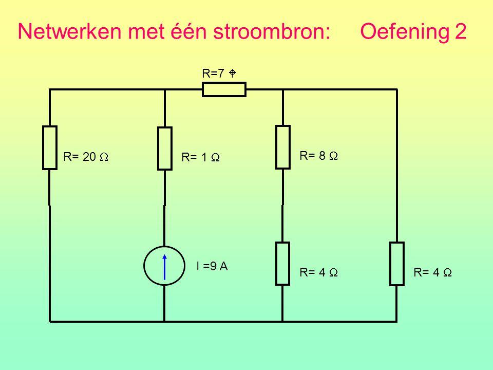 Netwerken met één stroombron: Oefening 2 R=7  R= 20  I =9 A R= 1  R= 8  R= 4 
