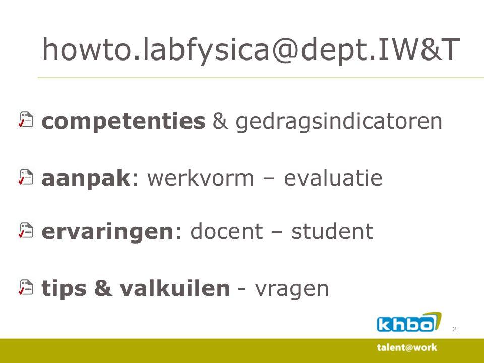 2 competenties & gedragsindicatoren aanpak: werkvorm – evaluatie ervaringen: docent – student tips & valkuilen - vragen howto.labfysica@dept.IW&T