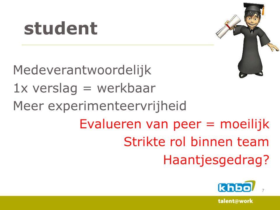 7 student Medeverantwoordelijk 1x verslag = werkbaar Meer experimenteervrijheid Evalueren van peer = moeilijk Strikte rol binnen team Haantjesgedrag?