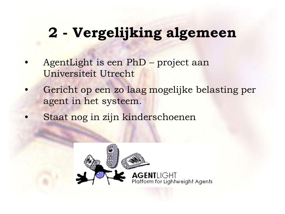 2 - Vergelijking algemeen AgentLight is een PhD – project aan Universiteit Utrecht Gericht op een zo laag mogelijke belasting per agent in het systeem