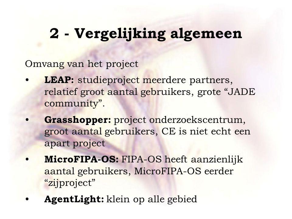 """2 - Vergelijking algemeen Omvang van het project LEAP: studieproject meerdere partners, relatief groot aantal gebruikers, grote """"JADE community"""". Gras"""