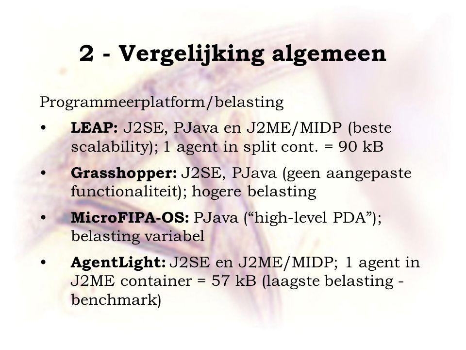 2 - Vergelijking algemeen Programmeerplatform/belasting LEAP: J2SE, PJava en J2ME/MIDP (beste scalability); 1 agent in split cont. = 90 kB Grasshopper
