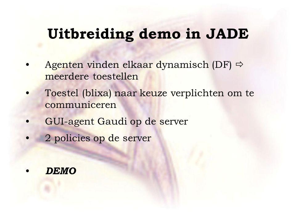 Agenten vinden elkaar dynamisch (DF)  meerdere toestellen Toestel (blixa) naar keuze verplichten om te communiceren GUI-agent Gaudi op de server 2 po