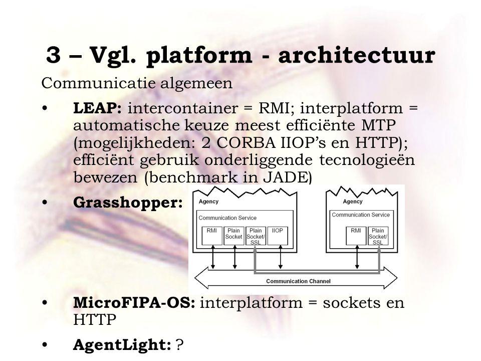 3 – Vgl. platform - architectuur Communicatie algemeen LEAP: intercontainer = RMI; interplatform = automatische keuze meest efficiënte MTP (mogelijkhe