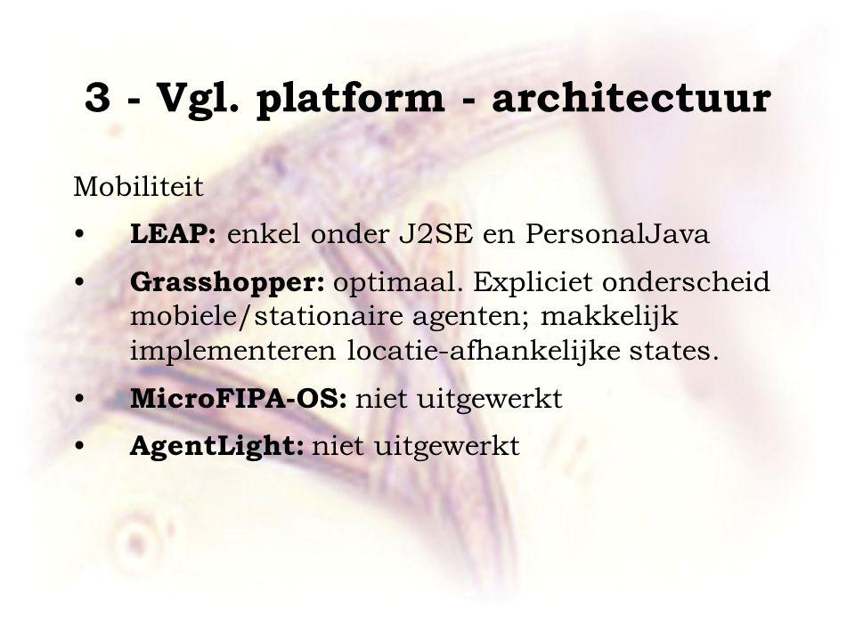 3 - Vgl. platform - architectuur Mobiliteit LEAP: enkel onder J2SE en PersonalJava Grasshopper: optimaal. Expliciet onderscheid mobiele/stationaire ag