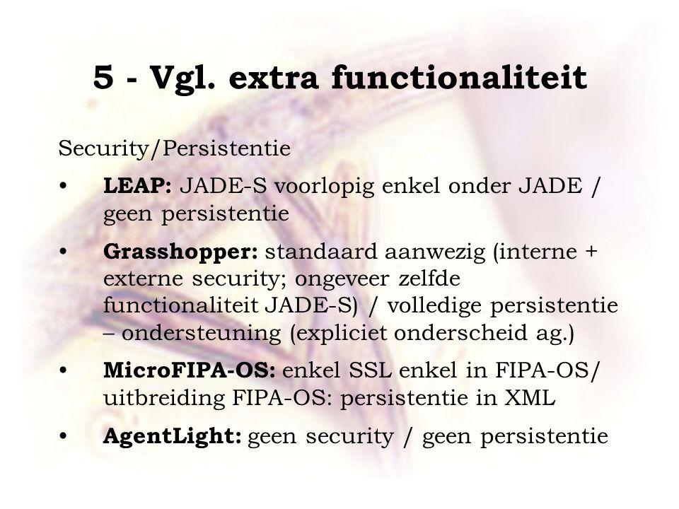 5 - Vgl. extra functionaliteit Security/Persistentie LEAP: JADE-S voorlopig enkel onder JADE / geen persistentie Grasshopper: standaard aanwezig (inte