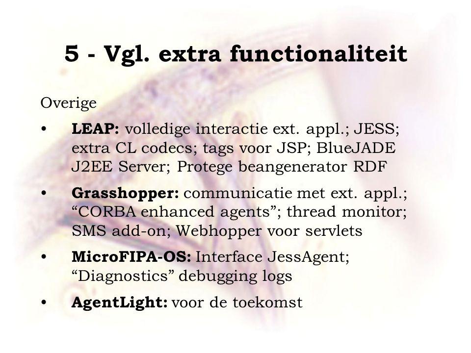 5 - Vgl. extra functionaliteit Overige LEAP: volledige interactie ext. appl.; JESS; extra CL codecs; tags voor JSP; BlueJADE J2EE Server; Protege bean