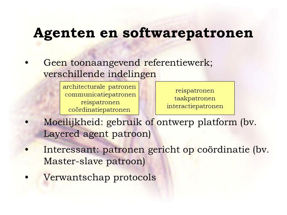 Agenten en softwarepatronen Geen toonaangevend referentiewerk; verschillende indelingen Moeilijkheid: gebruik of ontwerp platform (bv. Layered agent p