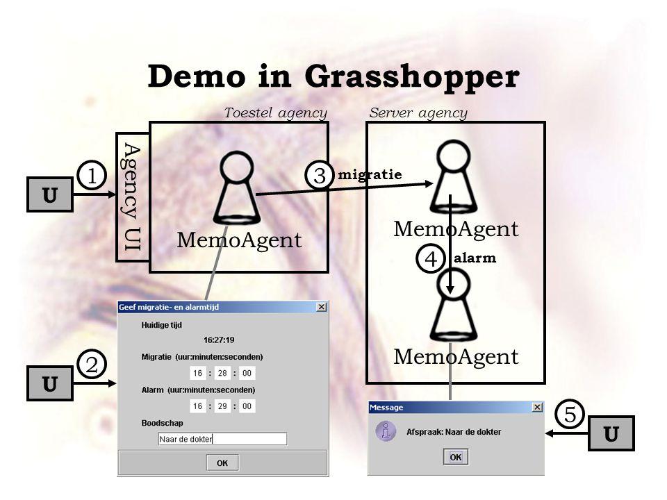 Demo in Grasshopper Agency UI MemoAgent U U U 1 2 3 5 4 migratie alarm Toestel agencyServer agency
