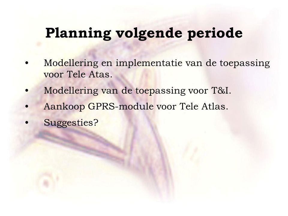 Planning volgende periode Modellering en implementatie van de toepassing voor Tele Atas. Modellering van de toepassing voor T&I. Aankoop GPRS-module v