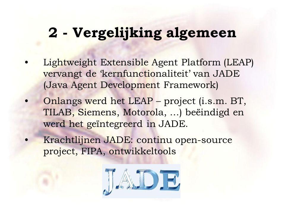 2 - Vergelijking algemeen Lightweight Extensible Agent Platform (LEAP) vervangt de 'kernfunctionaliteit' van JADE (Java Agent Development Framework) O