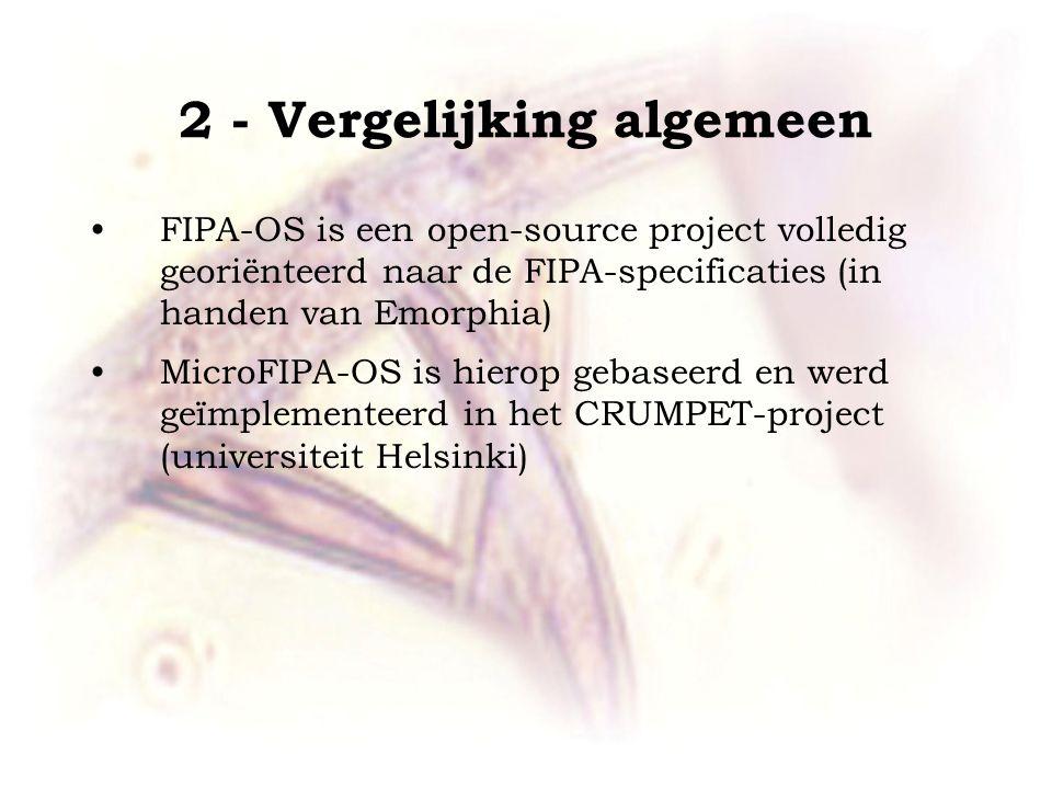 2 - Vergelijking algemeen FIPA-OS is een open-source project volledig georiënteerd naar de FIPA-specificaties (in handen van Emorphia) MicroFIPA-OS is