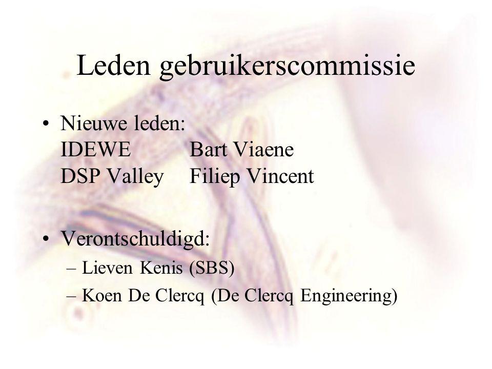 Leden gebruikerscommissie Nieuwe leden: IDEWE Bart Viaene DSP Valley Filiep Vincent Verontschuldigd: –Lieven Kenis (SBS) –Koen De Clercq (De Clercq Engineering)