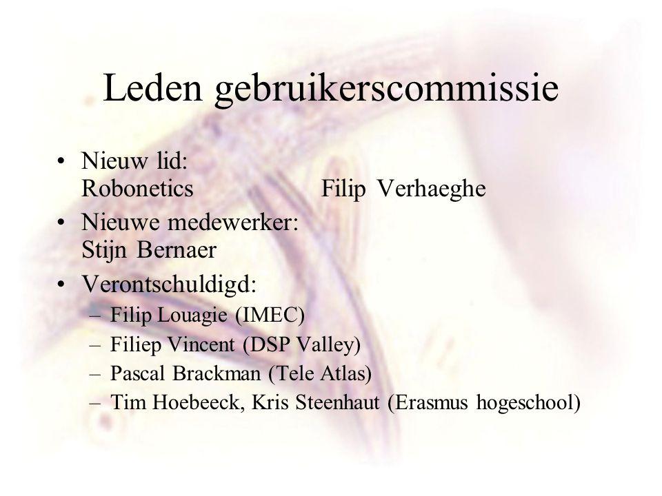 Leden gebruikerscommissie Nieuw lid: Robonetics Filip Verhaeghe Nieuwe medewerker: Stijn Bernaer Verontschuldigd: –Filip Louagie (IMEC) –Filiep Vincen