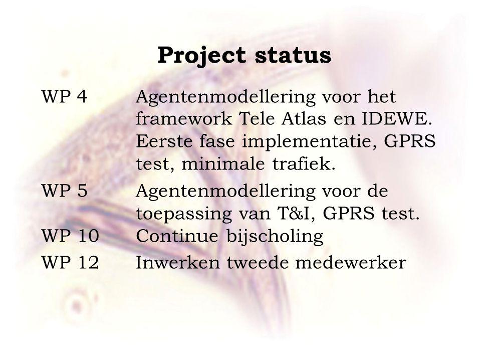Project status WP 4 Agentenmodellering voor het framework Tele Atlas en IDEWE.