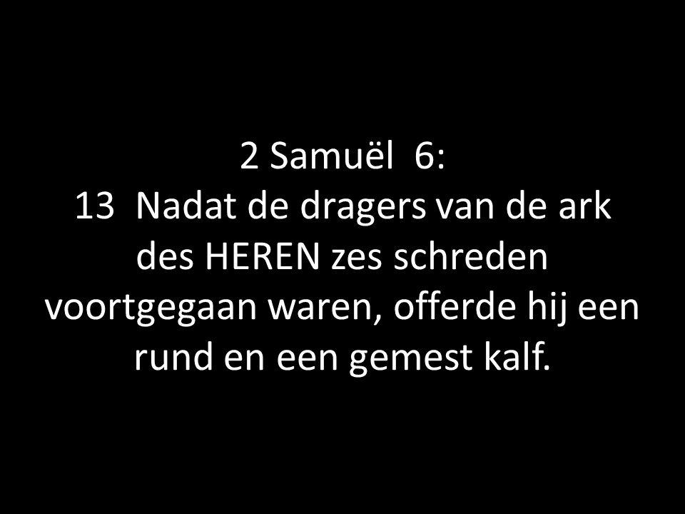 2 Samuël 6: 13 Nadat de dragers van de ark des HEREN zes schreden voortgegaan waren, offerde hij een rund en een gemest kalf.
