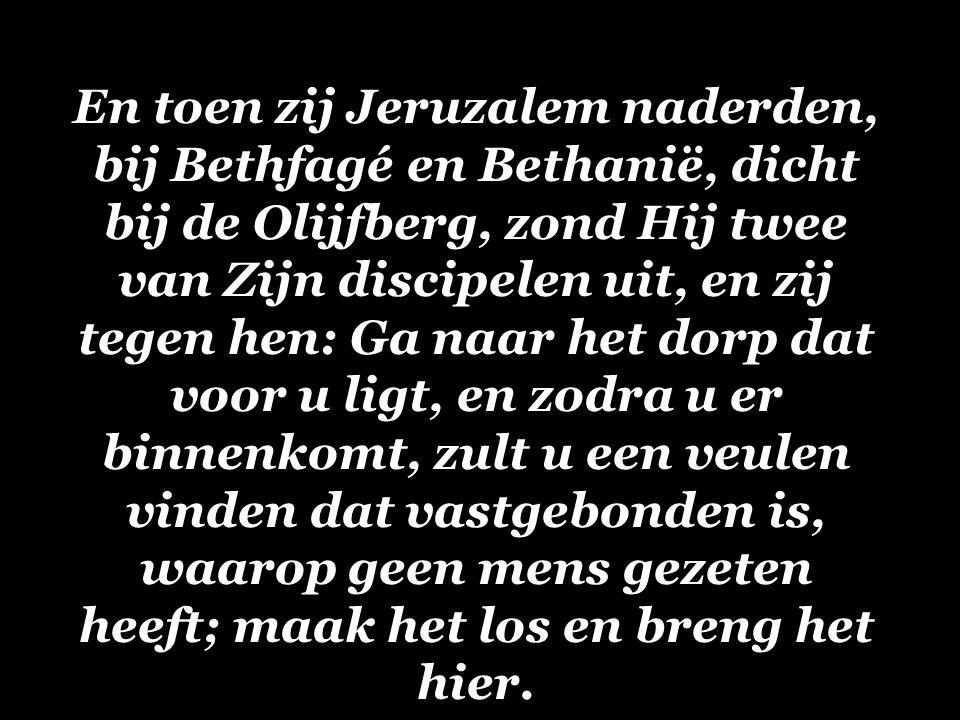 En toen zij Jeruzalem naderden, bij Bethfagé en Bethanië, dicht bij de Olijfberg, zond Hij twee van Zijn discipelen uit, en zij tegen hen: Ga naar het