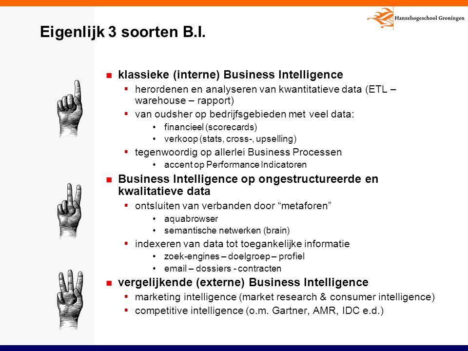 Eigenlijk 3 soorten B.I. klassieke (interne) Business Intelligence  herordenen en analyseren van kwantitatieve data (ETL – warehouse – rapport)  van