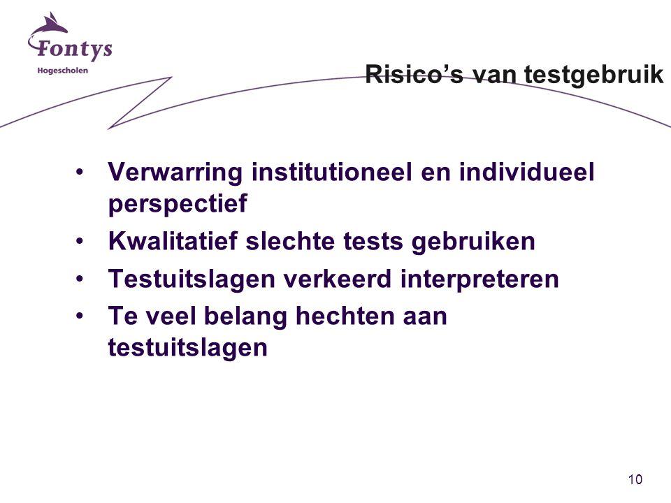 10 Risico's van testgebruik Verwarring institutioneel en individueel perspectief Kwalitatief slechte tests gebruiken Testuitslagen verkeerd interpreteren Te veel belang hechten aan testuitslagen