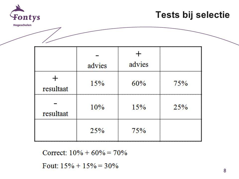 8 Tests bij selectie
