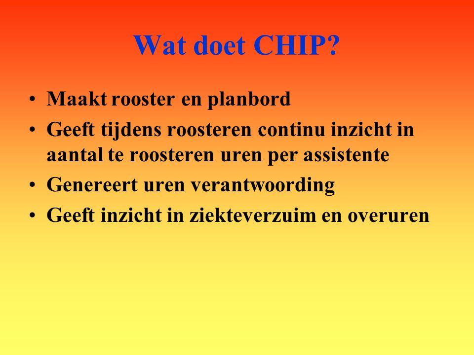 Wat doet CHIP? Maakt rooster en planbord Geeft tijdens roosteren continu inzicht in aantal te roosteren uren per assistente Genereert uren verantwoord