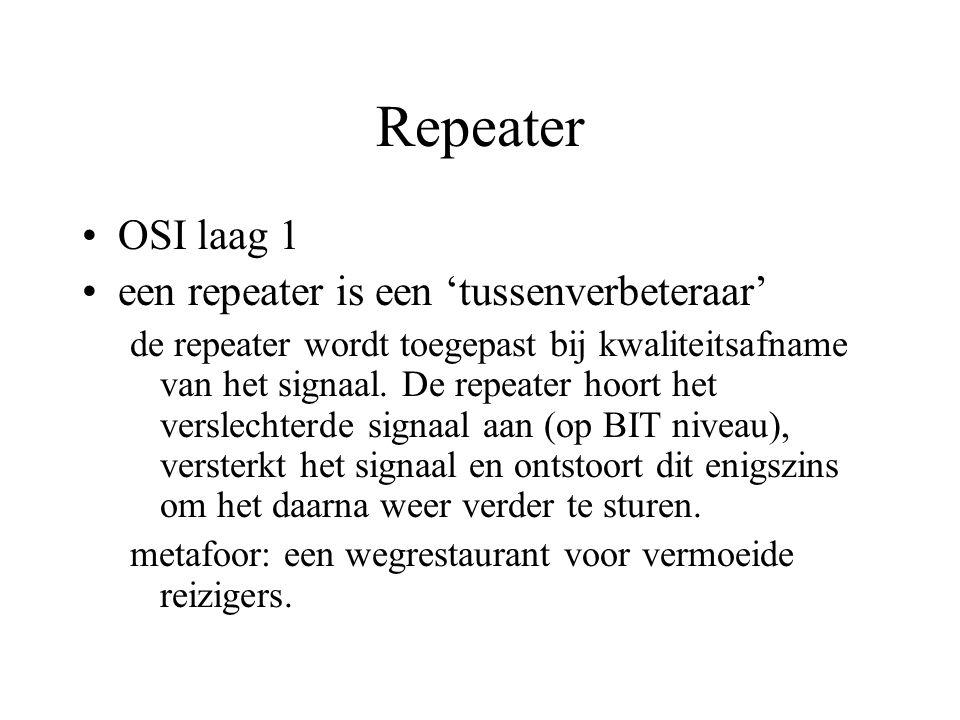Repeater OSI laag 1 een repeater is een 'tussenverbeteraar' de repeater wordt toegepast bij kwaliteitsafname van het signaal.