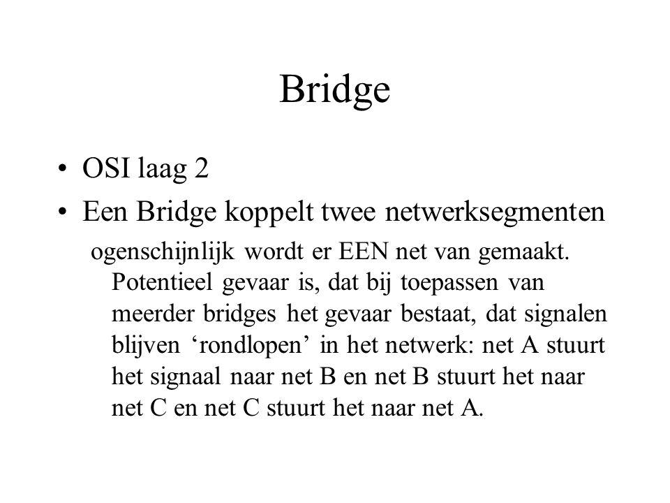 Bridge OSI laag 2 Een Bridge koppelt twee netwerksegmenten ogenschijnlijk wordt er EEN net van gemaakt.