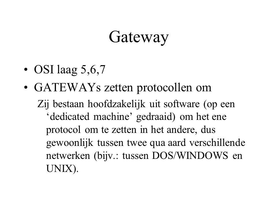 Gateway OSI laag 5,6,7 GATEWAYs zetten protocollen om Zij bestaan hoofdzakelijk uit software (op een 'dedicated machine' gedraaid) om het ene protocol om te zetten in het andere, dus gewoonlijk tussen twee qua aard verschillende netwerken (bijv.: tussen DOS/WINDOWS en UNIX).