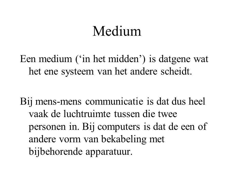 Medium Een medium ('in het midden') is datgene wat het ene systeem van het andere scheidt.