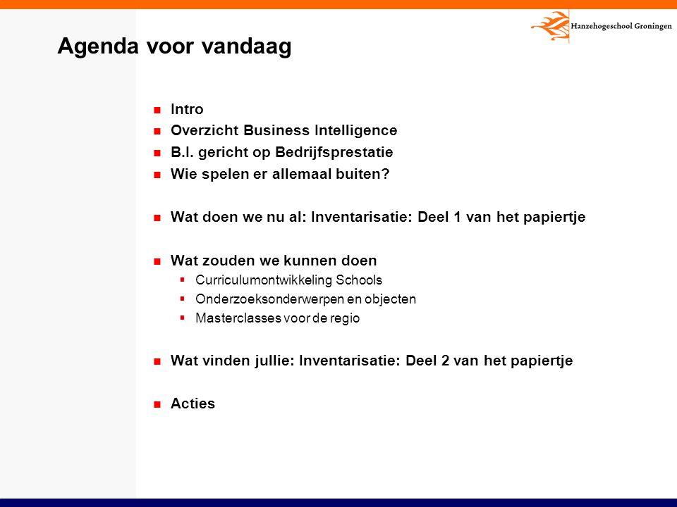 Agenda voor vandaag Intro Overzicht Business Intelligence B.I. gericht op Bedrijfsprestatie Wie spelen er allemaal buiten? Wat doen we nu al: Inventar