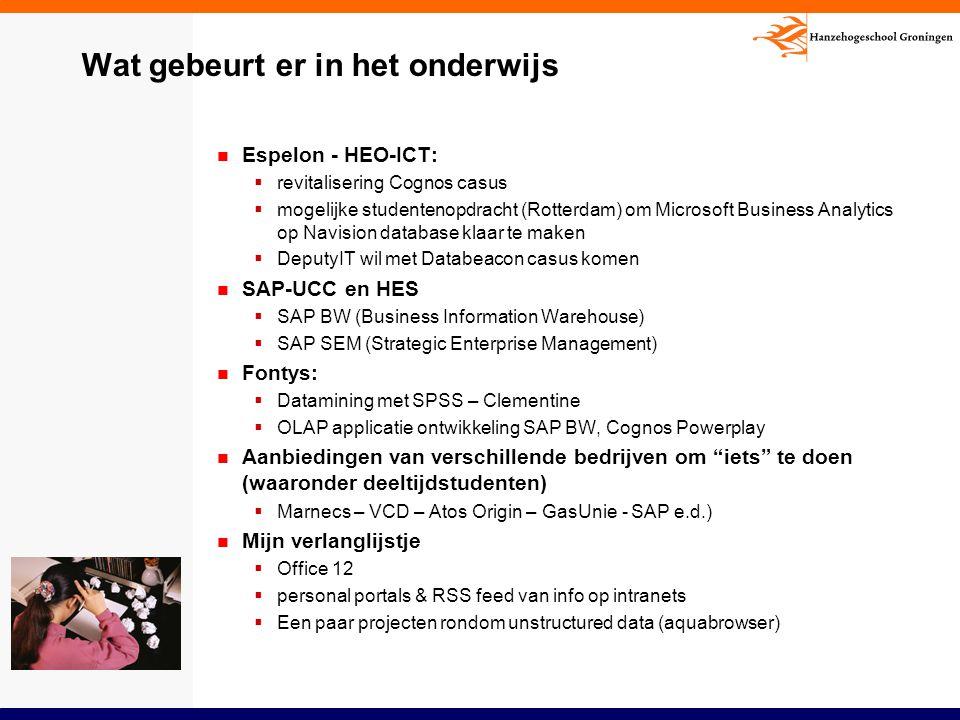 Wat gebeurt er in het onderwijs Espelon - HEO-ICT:  revitalisering Cognos casus  mogelijke studentenopdracht (Rotterdam) om Microsoft Business Analy