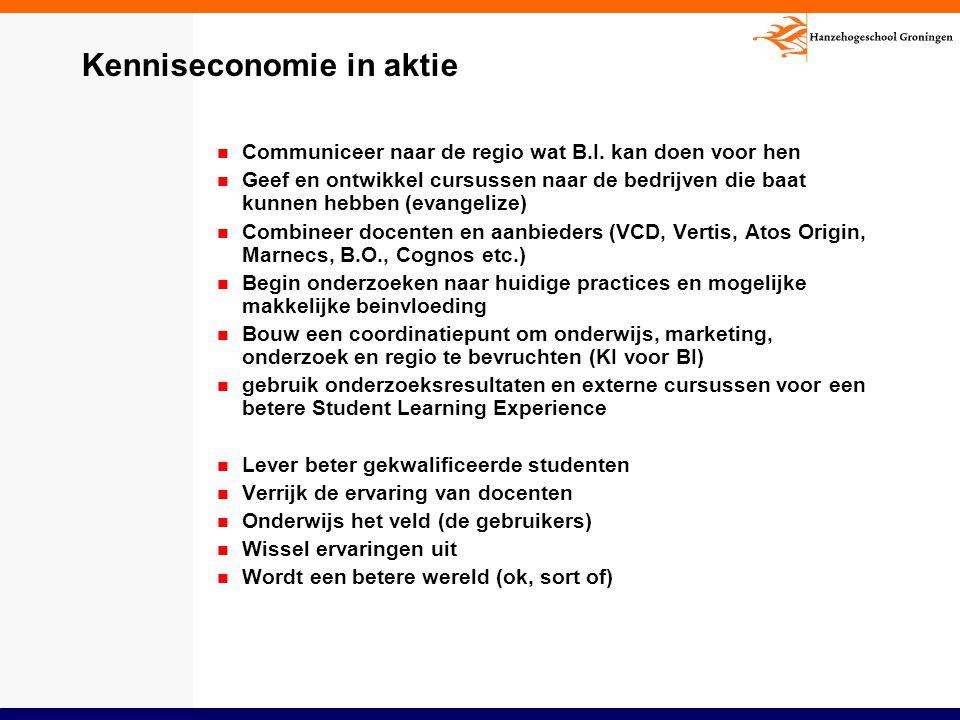 Kenniseconomie in aktie Communiceer naar de regio wat B.I. kan doen voor hen Geef en ontwikkel cursussen naar de bedrijven die baat kunnen hebben (eva