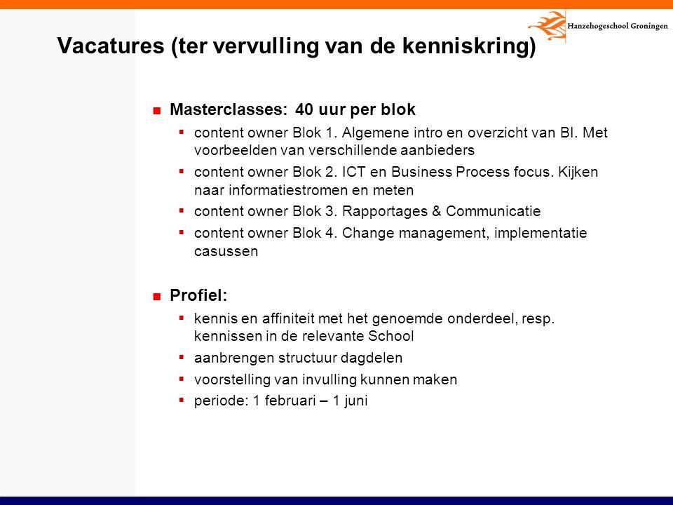 Vacatures (ter vervulling van de kenniskring) Masterclasses: 40 uur per blok  content owner Blok 1. Algemene intro en overzicht van BI. Met voorbeeld