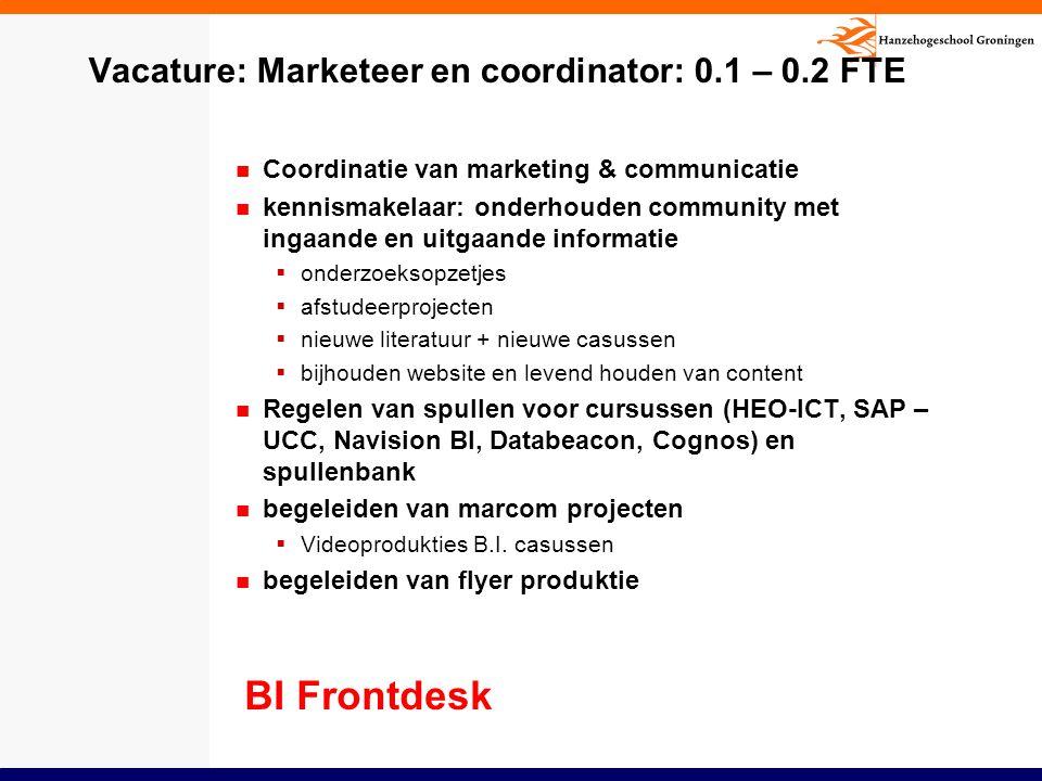 Vacature: Marketeer en coordinator: 0.1 – 0.2 FTE Coordinatie van marketing & communicatie kennismakelaar: onderhouden community met ingaande en uitga