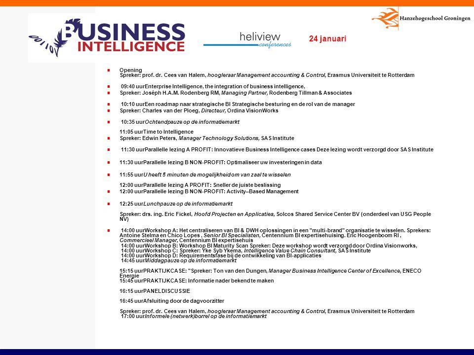 Opening Spreker: prof. dr. Cees van Halem, hoogleraar Management accounting & Control, Erasmus Universiteit te Rotterdam 09:40 uurEnterprise Intellige