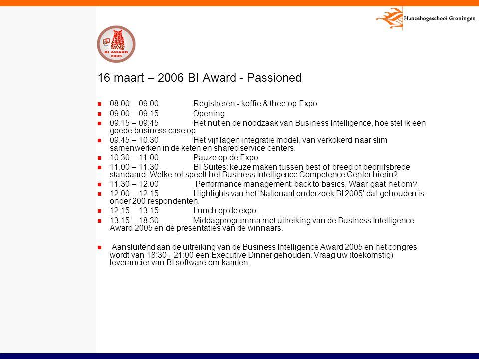 16 maart – 2006 BI Award - Passioned 08.00 – 09.00Registreren - koffie & thee op Expo. 09.00 – 09.15Opening 09.15 – 09.45Het nut en de noodzaak van Bu