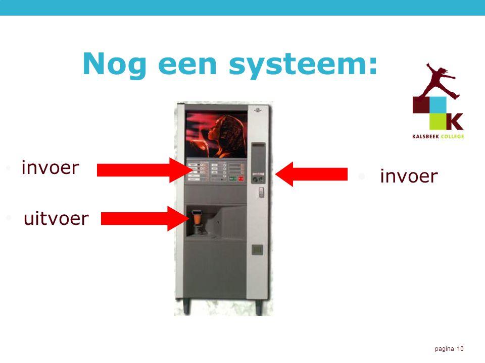 pagina 10 Nog een systeem: invoer uitvoer invoer