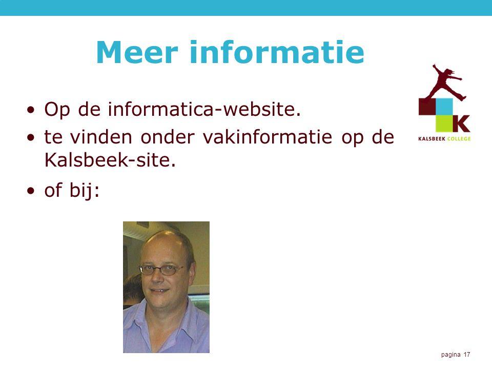 pagina 17 Meer informatie Op de informatica-website.