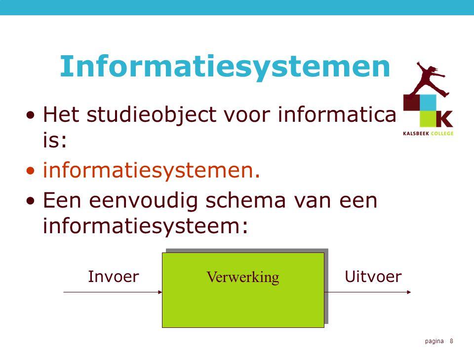 pagina 8 Informatiesystemen Het studieobject voor informatica is: informatiesystemen.