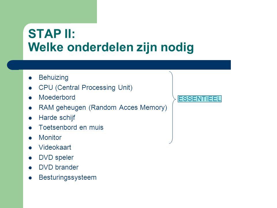 STAP II: Welke onderdelen zijn nodig Behuizing CPU (Central Processing Unit) Moederbord RAM geheugen (Random Acces Memory) Harde schijf Toetsenbord en muis Monitor Videokaart DVD speler DVD brander Besturingssysteem ESSENTIEEL