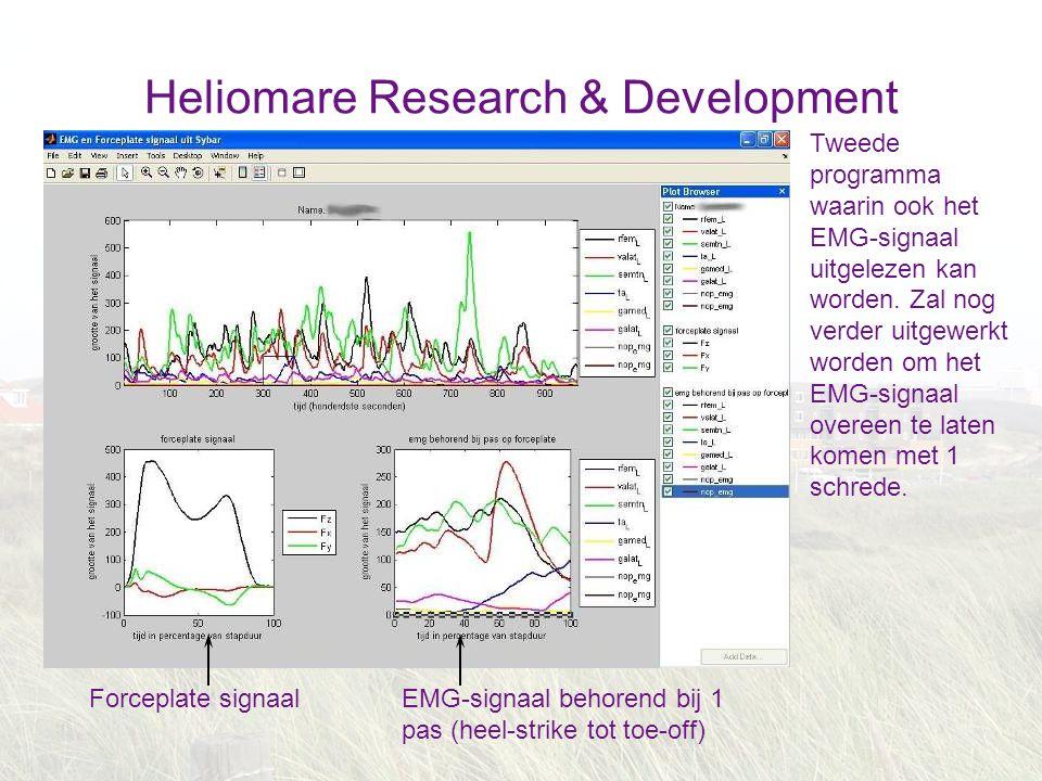 Heliomare Research & Development Tweede programma waarin ook het EMG-signaal uitgelezen kan worden. Zal nog verder uitgewerkt worden om het EMG-signaa