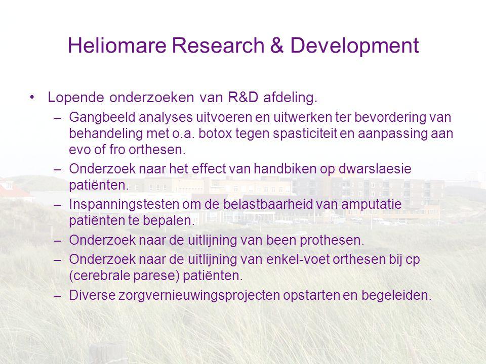 Heliomare Research & Development Lopende onderzoeken van R&D afdeling. –Gangbeeld analyses uitvoeren en uitwerken ter bevordering van behandeling met