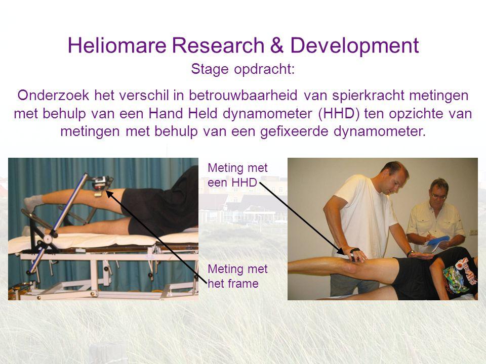 Heliomare Research & Development Stage opdracht: Onderzoek het verschil in betrouwbaarheid van spierkracht metingen met behulp van een Hand Held dynam