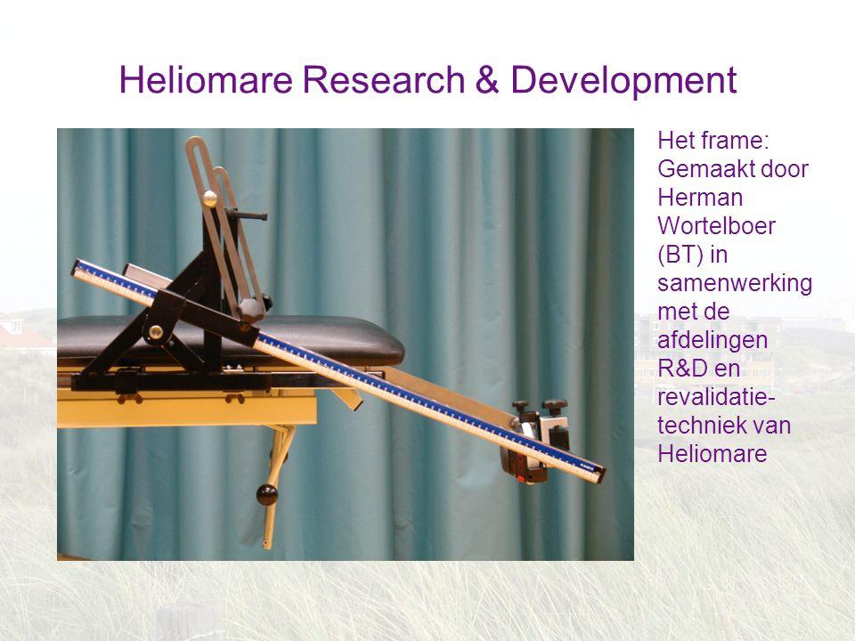 Heliomare Research & Development Het frame: Gemaakt door Herman Wortelboer (BT) in samenwerking met de afdelingen R&D en revalidatie- techniek van Hel